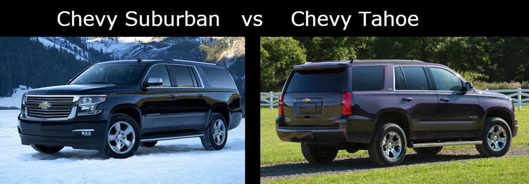 comparison image of the 2016 Chevy Suburban and 2016 Chevy Tahoe with a black bar between and over the top of them