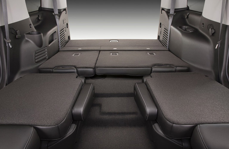 folded-down seats of the 2016 Chevy Tahoe