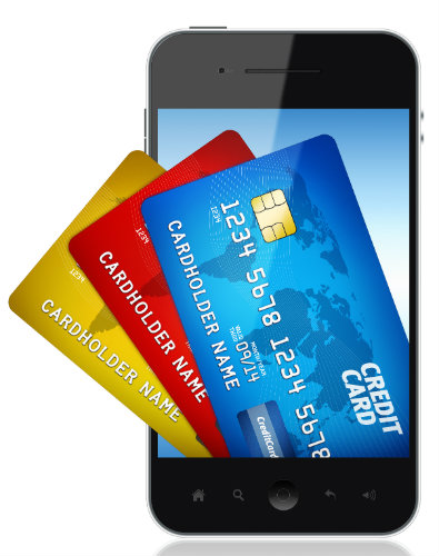 image of credit cards coming out of a cellphone