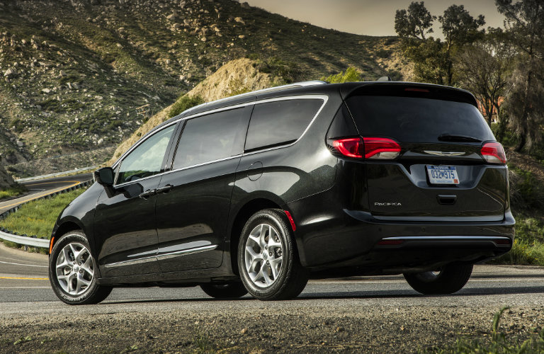 rear view of a dark 2017 Chrysler Pacifica minivan