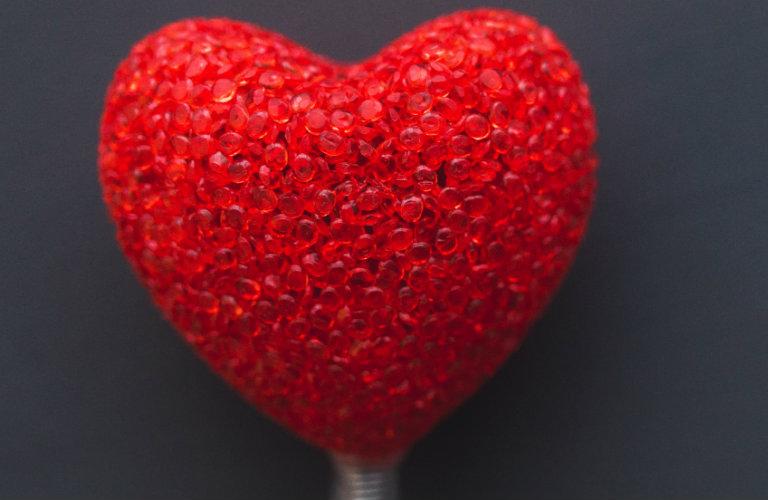 decorative heart on a dark gray background