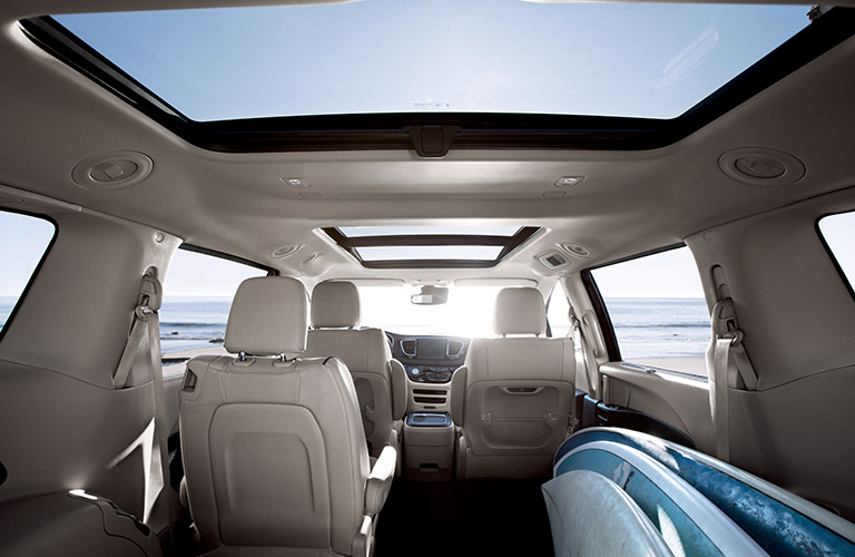 interior view of the panoramic sunroof in the 2017 Chrysler Pacifica