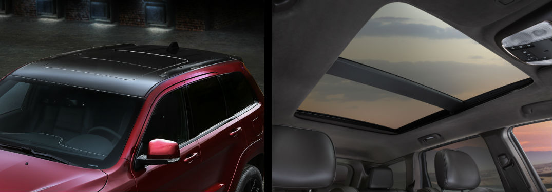 external and internal view of a Jeep sunroof, different models