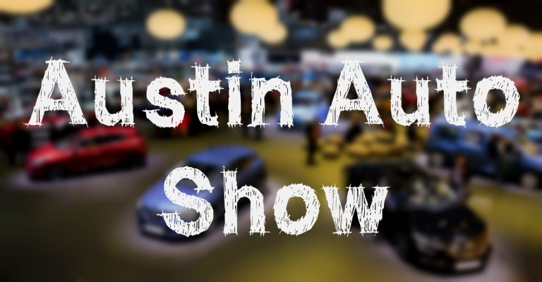 """Austin Auto Show"" with a blurred background of an indoor auto show"
