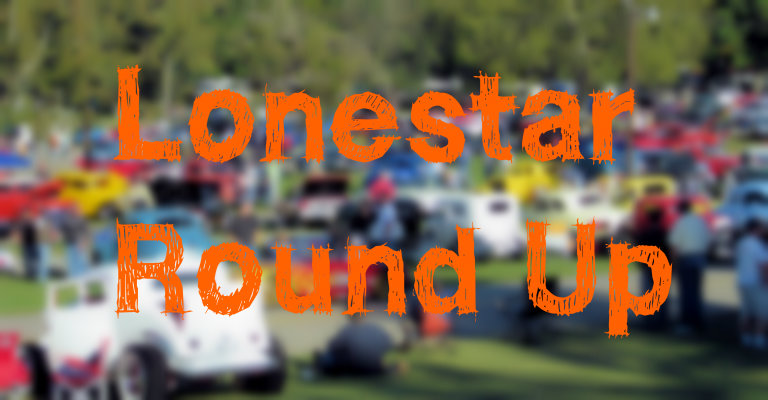 """Lonestar Round Up"" with blurred background of an outdoor auto show"