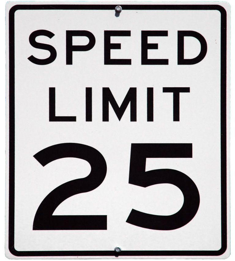 25 mph speed limit sign