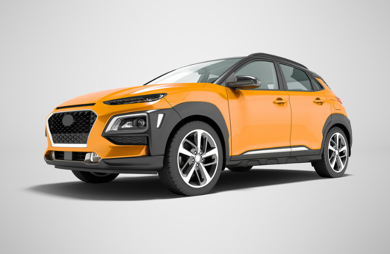 Front side view of a 3D rendering of an orange crossover
