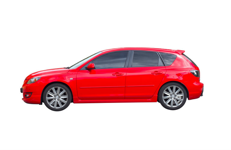 Side view of a red 3D rendering of a 5-door hatchback