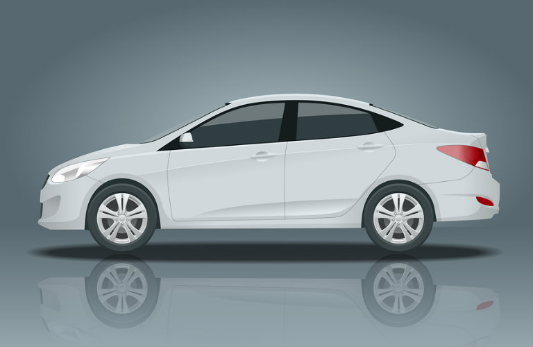 Side view of a white 3D rendering of a 4-door sedan