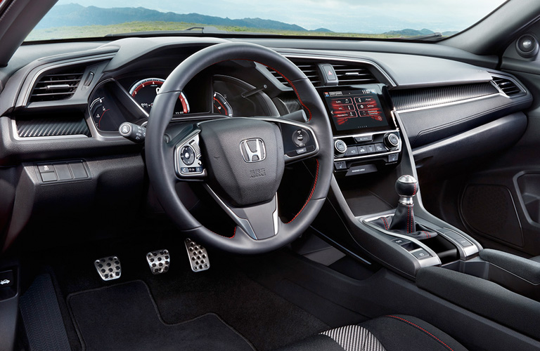 Front interior of a 2019 Honda Civic Coupe.