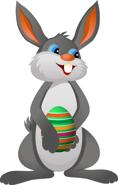 A cartoon bunny stands proud holding a multi-colored Easter egg in his paws.