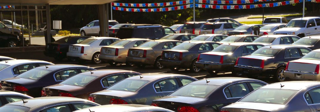 Rows of vehicles on a used car lot.