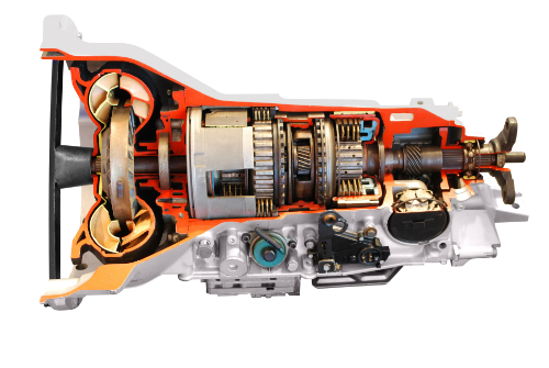 A cutaway side view of an automatic transmission, revealing its strange inner workings.