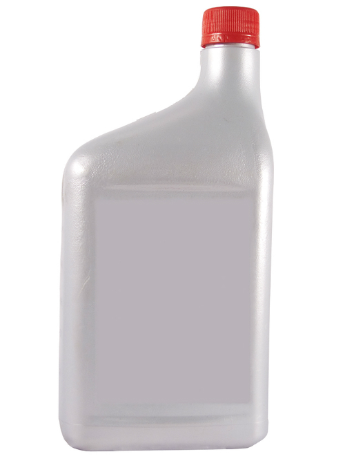 A tall grey bottle of oil stands upright with a red cap.