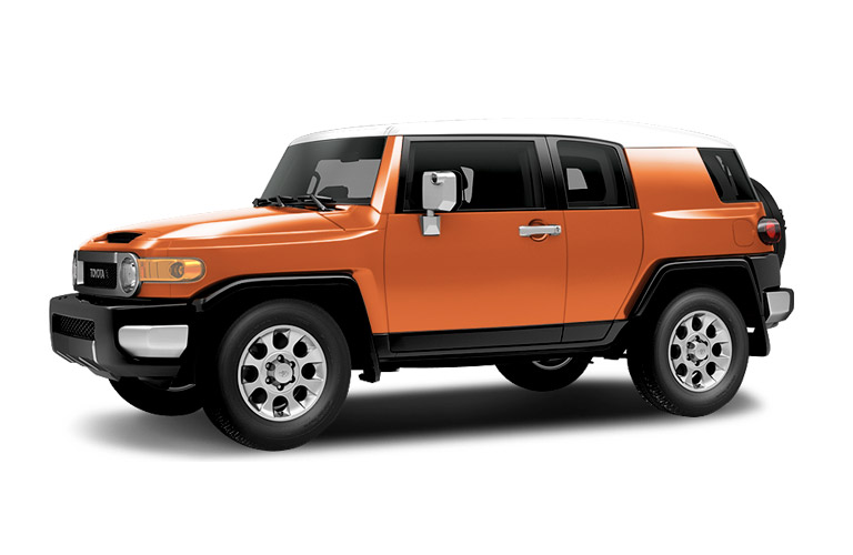 Orange 2014 Toyota FJ Cruiser on a white background.