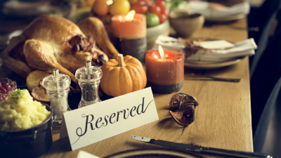 Reserved spot at a Thanksgiving dinner table