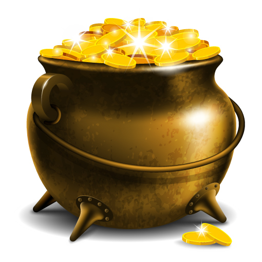 A traditional brass pot is filled with a multitude of golden coins, or perhaps tokens.