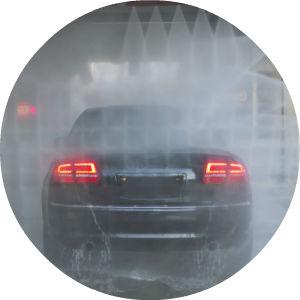 Circle image of vehicle going through car wash