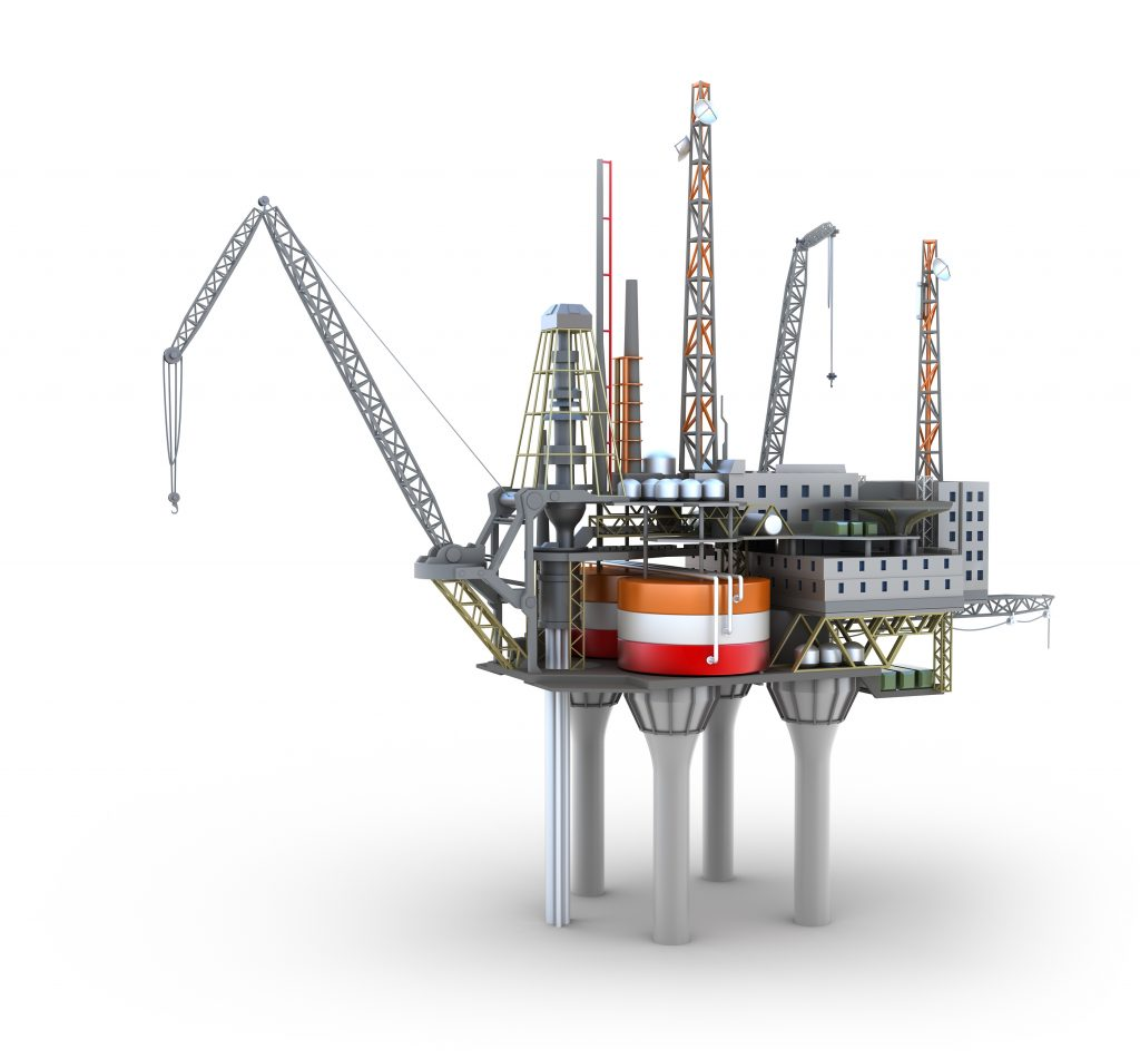 Oil drilling platform cartoon image on a white background.