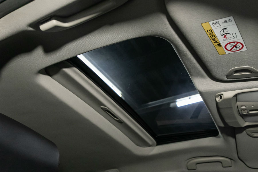 A photo of a sunroof in a vehicle.