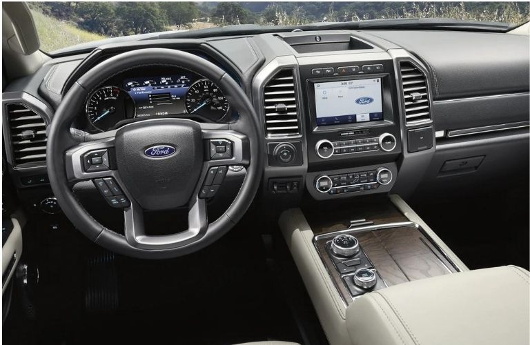 2021 Ford Expedition has leather steering wheel.