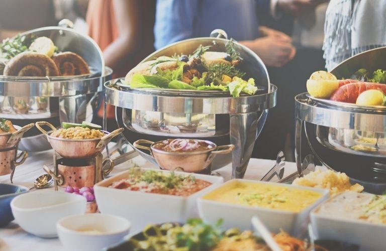 A buffet of vegan food