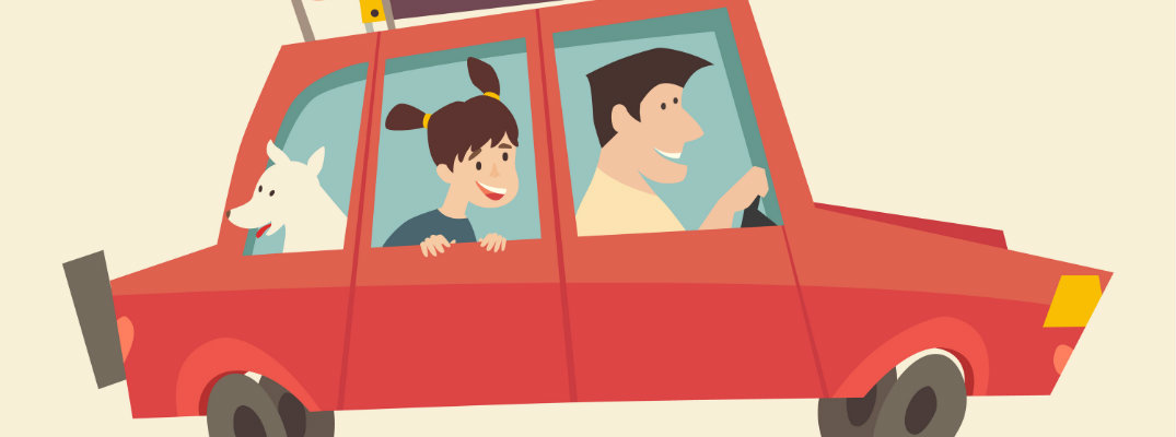 cartoon red car with dad, daughter, and dog in car and luggage on the roof or summer vacation
