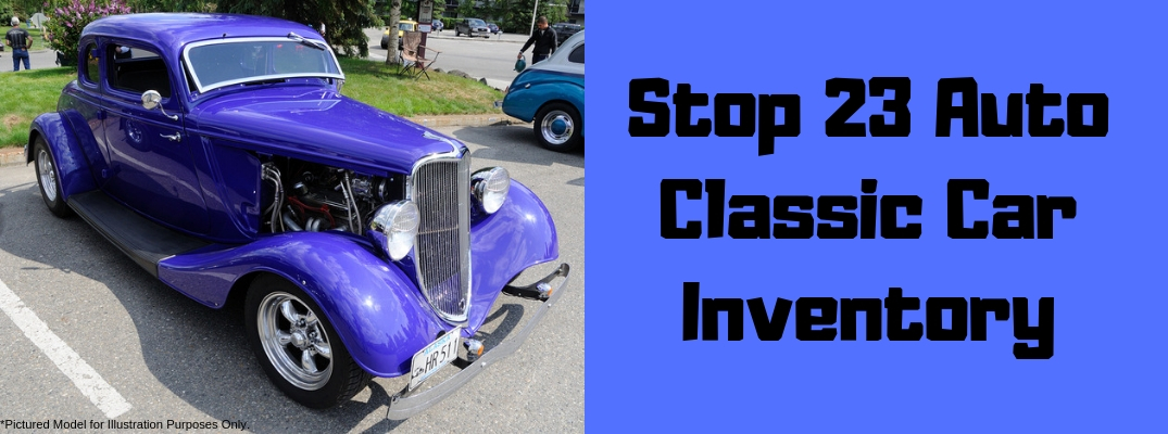 "Image of a blue classic car and black text of ""Stop 23 Auto Classic Car Inventory"" against a blue background"