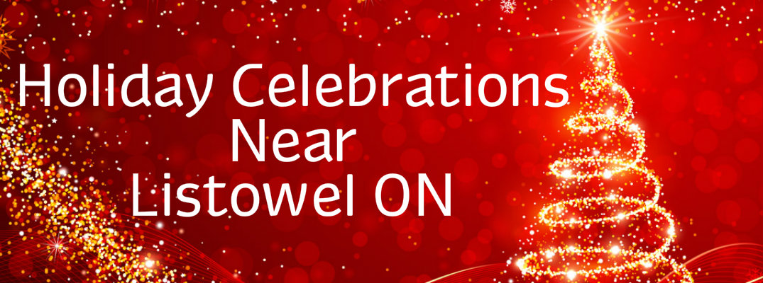 "Gold Christmas tree against a red background with ""Holiday Celebrations Near Listowel ON"" in white text"