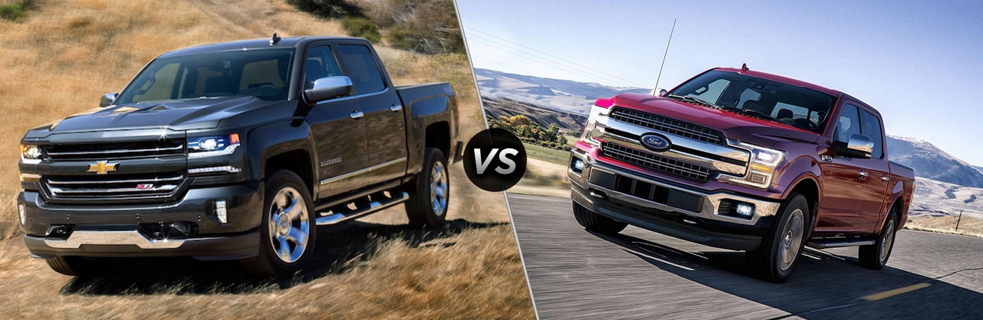 Comparison image of a black 2018 Chevrolet Silverado 1500 and a Red 2018 Ford F-150
