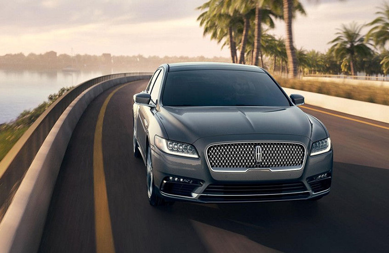 Exterior view of the front of a gray 2019 Lincoln Continental