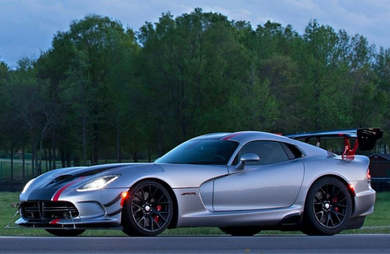 Exterior view of a silver 2016 Dodge Viper