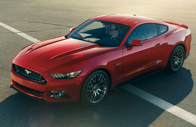 Exterior view of a red 2017 Ford Mustang