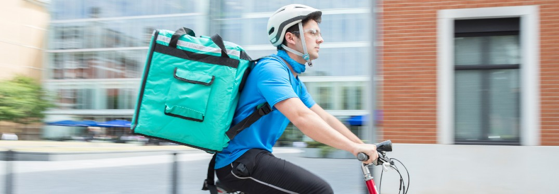 Food being delivered on a bike