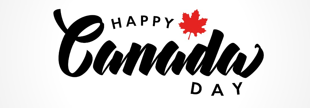 Happy Canada Day message with red maple leaf and white background