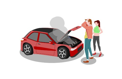 cartoon of couple standing in front of car smoking and hood up