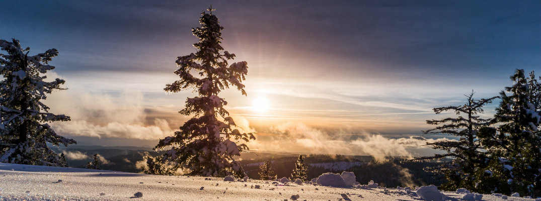 View of sunrise on a winter day