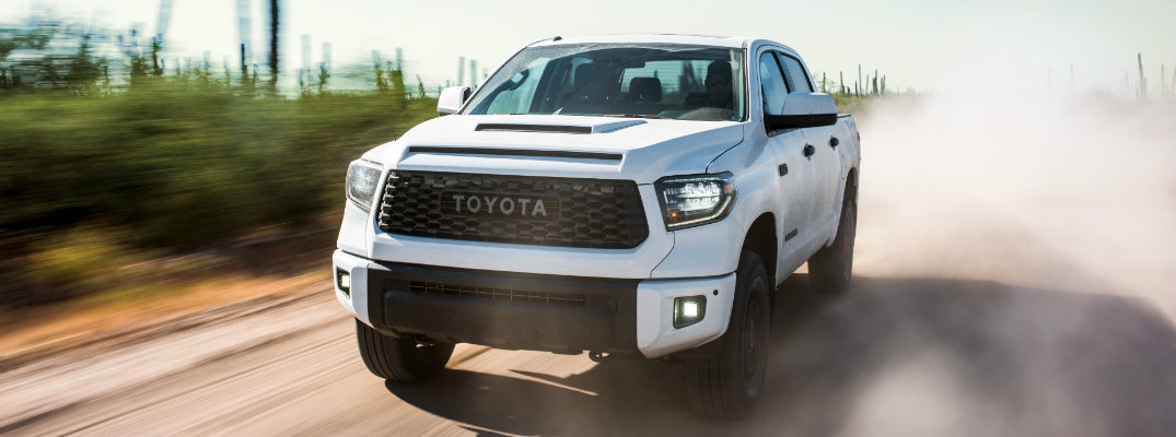 2019 Toyota Tundra TRD Pro driving on a dirt road