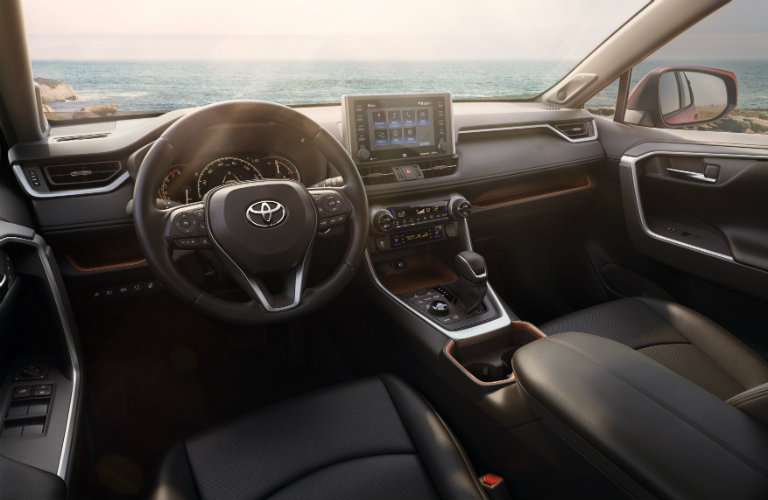 View of the 2019 Toyota RAV4's steering wheel