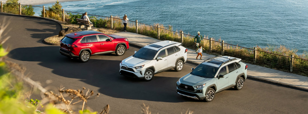 A row of three 2019 Toyota RAV4 models by the lake