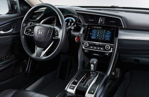 Steering wheel and dashboard in the 2019 Honda Civic