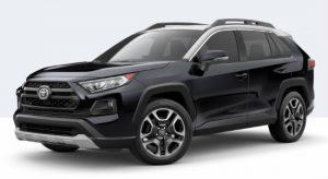 2019 Toyota RAV4 Adventure in Midnight Black Metallic with Ice Edge Roof