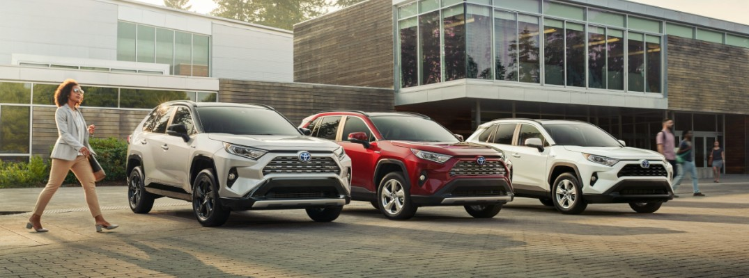 Three, 2019 RAV4 Hybrid models in a row