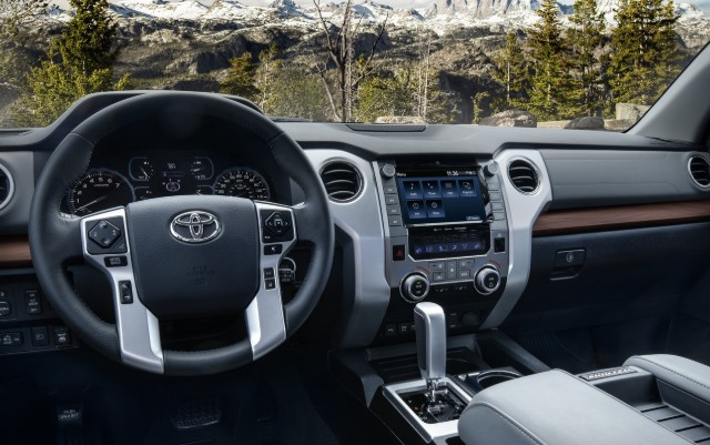 Steering wheel and dashboard in the 2020 Toyota Tundra