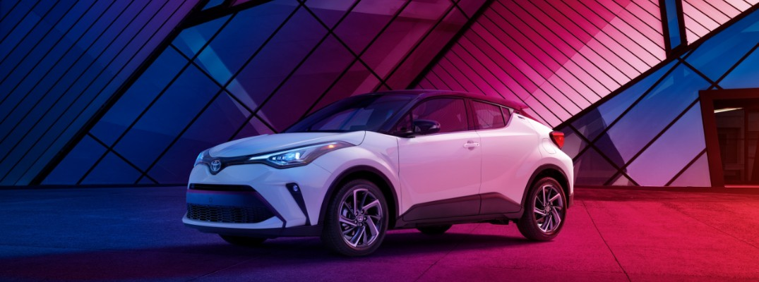 2020 Toyota C-HR against a blue and red background