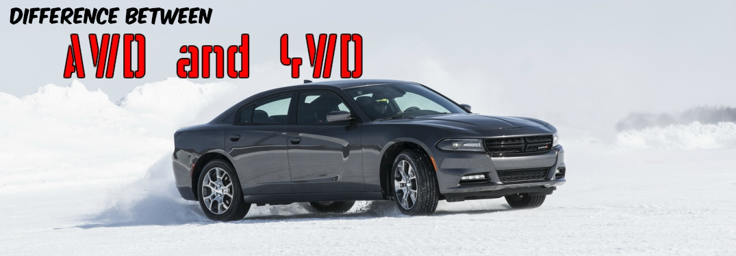 2017 Dodge Charger SXT AWD gray side view in snow difference between AWD and 4WD