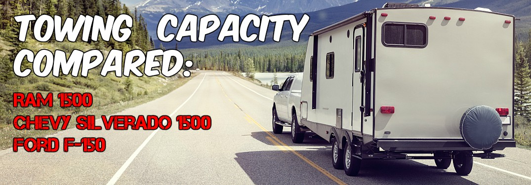 White truck towing a camper towards mountains towing capacity compared