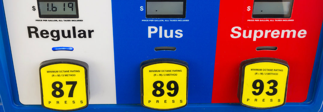 image of the fuel options at the pump at a gas station