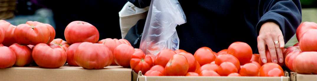 woman picking out tomatoes at a farmer;s market