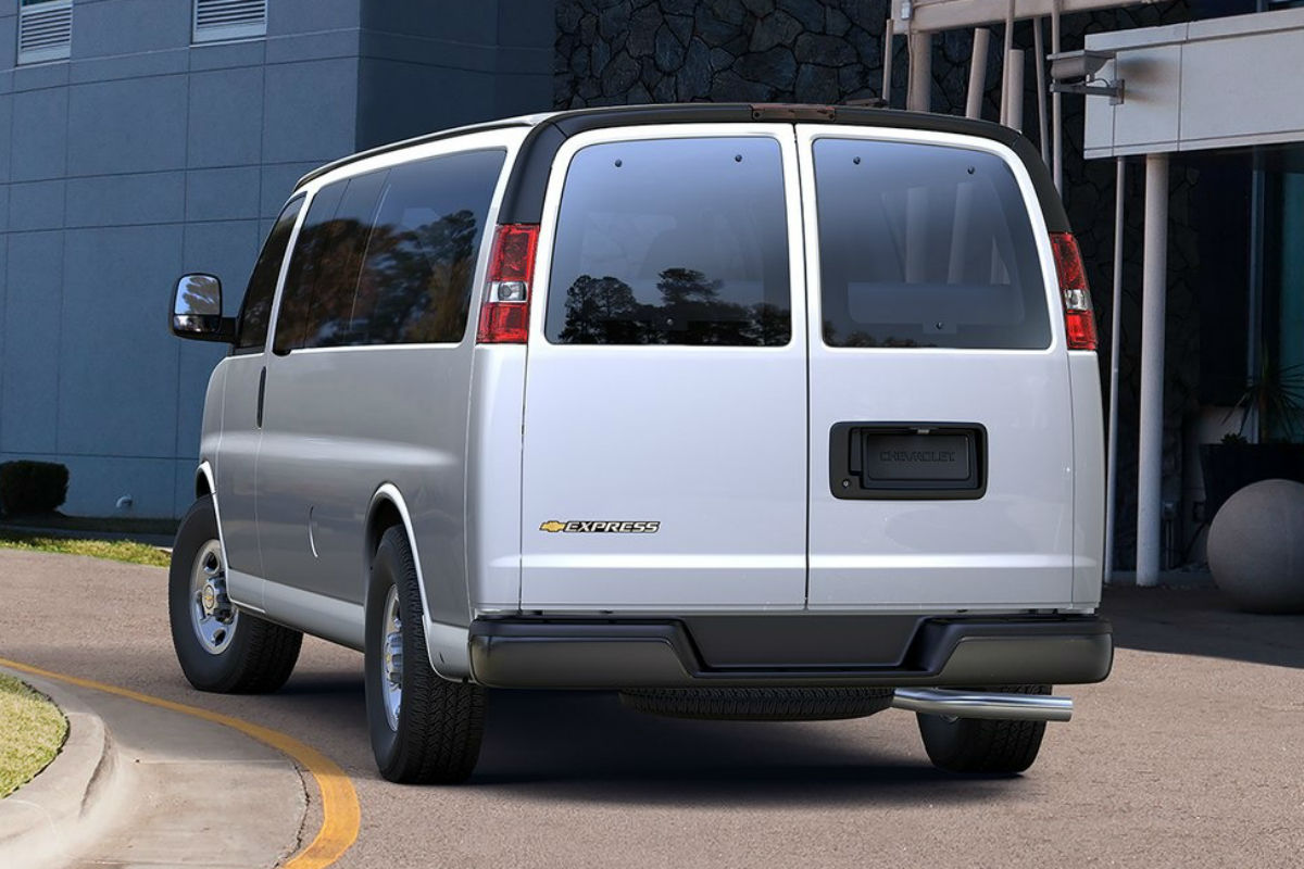 Rear exterior view of a white 2017 Chevy Express 3500